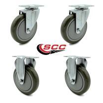 "Service Caster - 5"" x 1.25"" Gray Polyurethane Wheels Caster Non-Marking Set of 4-2 Swivel/2 Rigid"