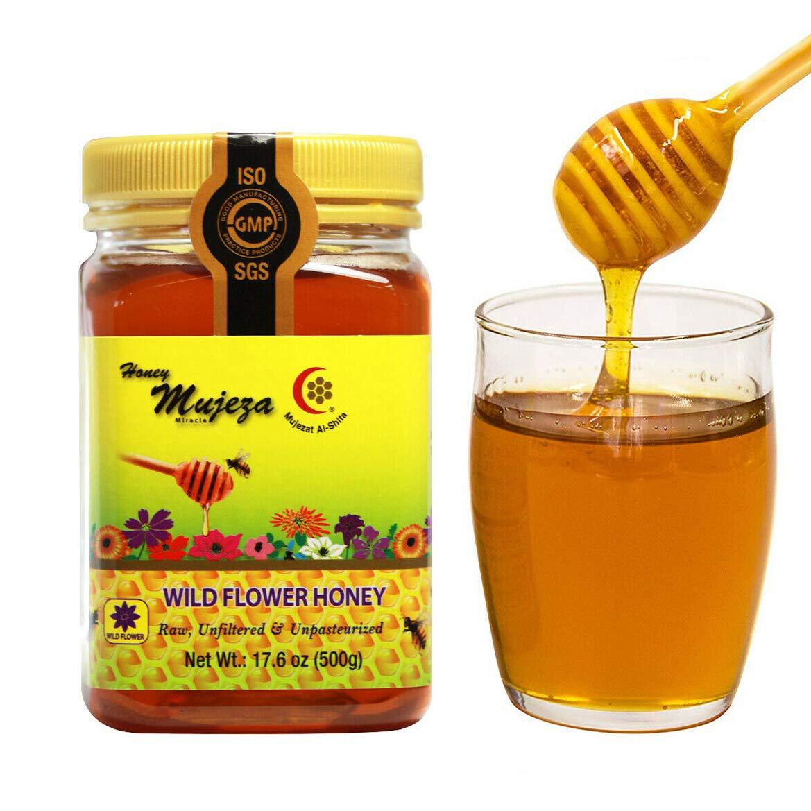 (Wildflower (500g), 1 Jar) Mujeza Wildflower Honey, Unheated, Unfiltered, Unpasteurized 100% Natural Raw Honey, Non GMO