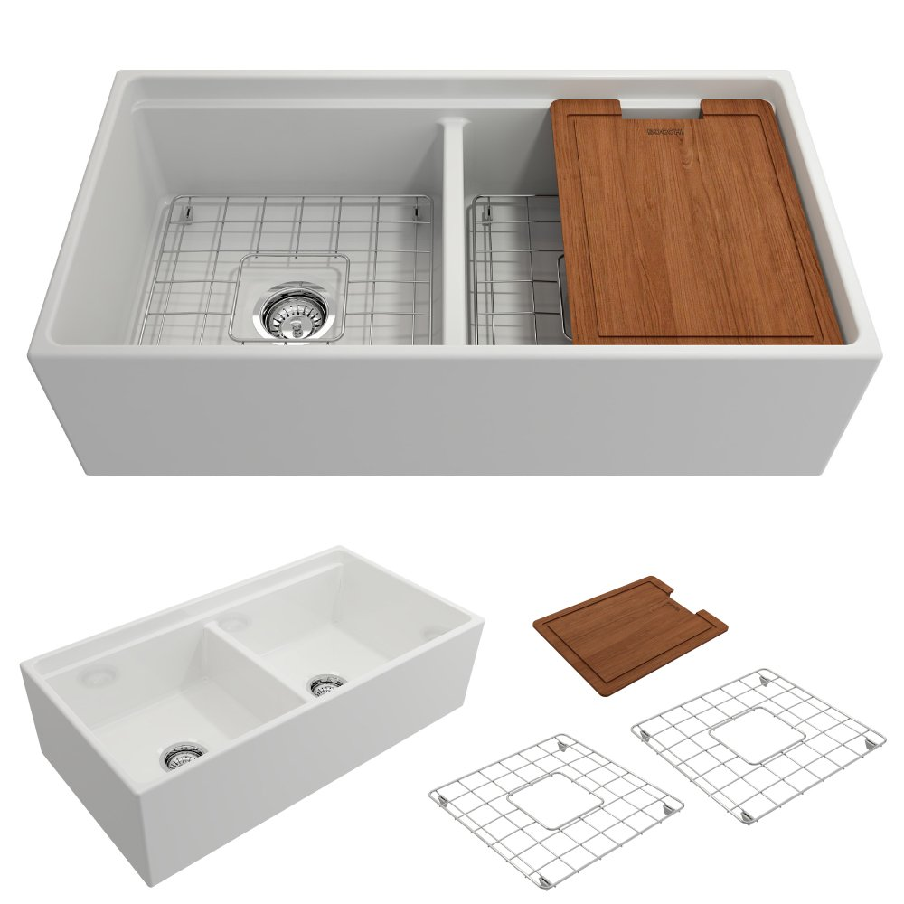 BOCCHI 1348-001-0120 Contempo Apron Front Step Rim Fireclay 36 in. Double Bowl Kitchen Sink with Protective Bottom Grid and Strainer in White