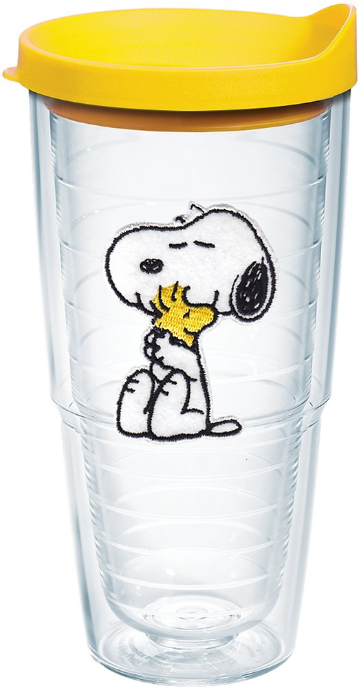 Tervis 1140868 Peanuts - Felt Tumbler with Emblem and Yellow Lid 24oz, Clear