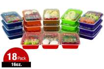ISO Meal Prep Containers with Lids Certified BPA-Free Stackable Reusable Microwave/Dishwasher/Freezer Safe 16 oz, 18 Count, MULTI COLOR