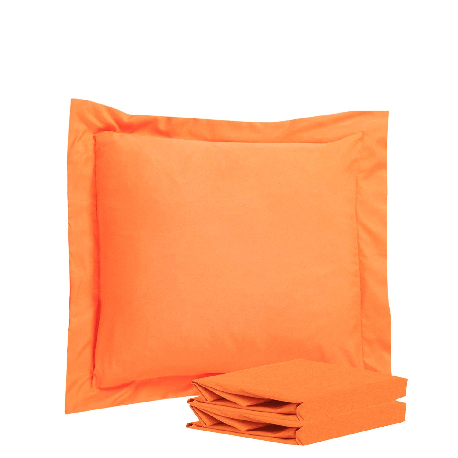 NTBAY 100% Brushed Microfiber European Square Throw Pillow Cushion Cover Set of 2, Soft and Cozy, Wrinkle, Fade, Stain Resistant (26x 26 inches, Orange)