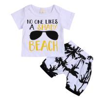 Infant Baby Boys Summer Casual Clothes Set Beaches Love Me Vest Tops +Shorts