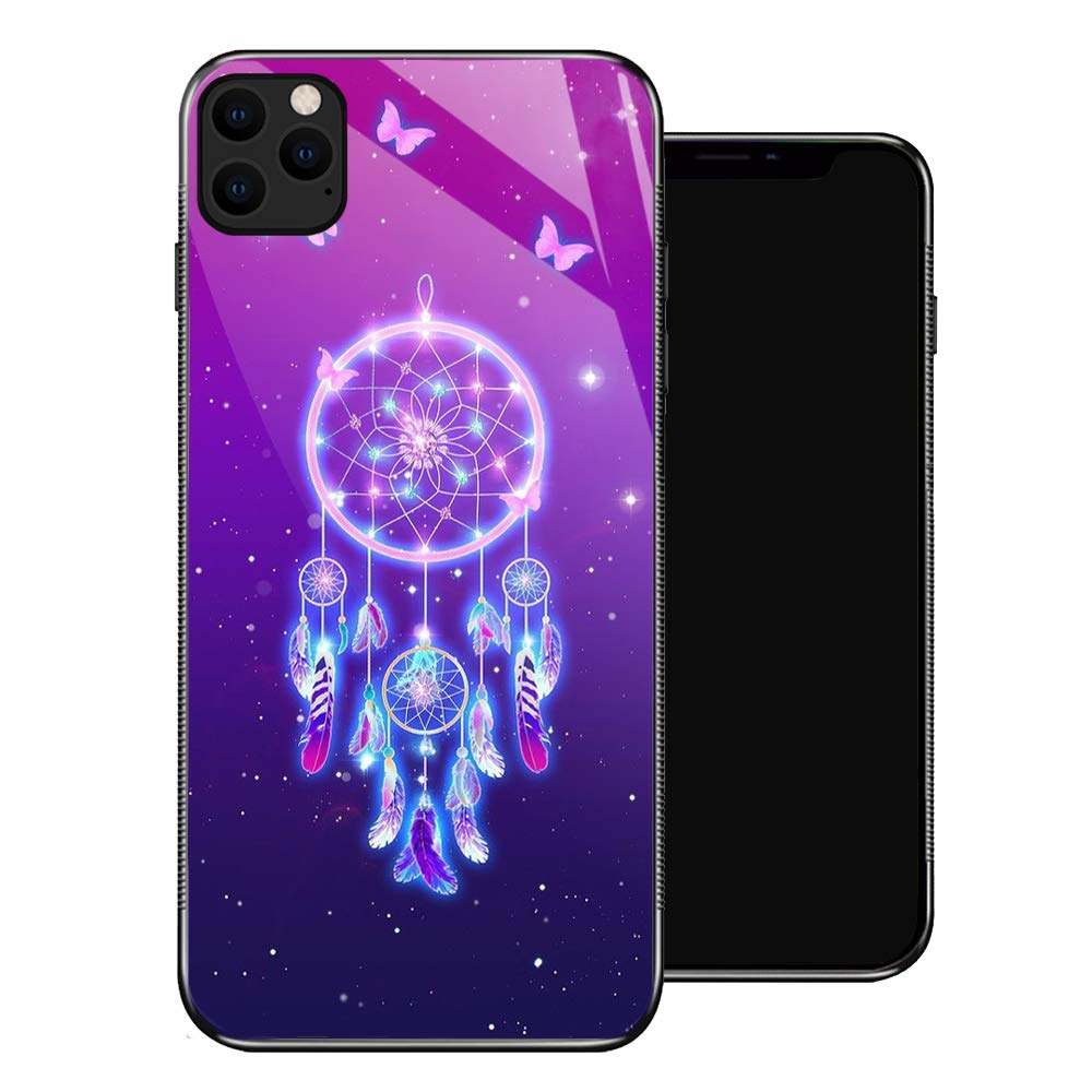 iPhone 11 Case,Butterfly Dreamcatcher Star iPhone 11 Cases for Girls,Tempered Glass Pattern Design Back Cover[Shock Absorption] Soft TPU Bumper Frame Support Case for iPhone 11 Purple Feather Bright
