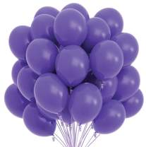 Prextex 75 Purple Party Balloons 12 Inch Purple Balloons with Matching Color Ribbon for Purple Theme Party Decoration, Weddings, Baby Shower, Birthday Parties Supplies or Arch Décor - Helium Quality