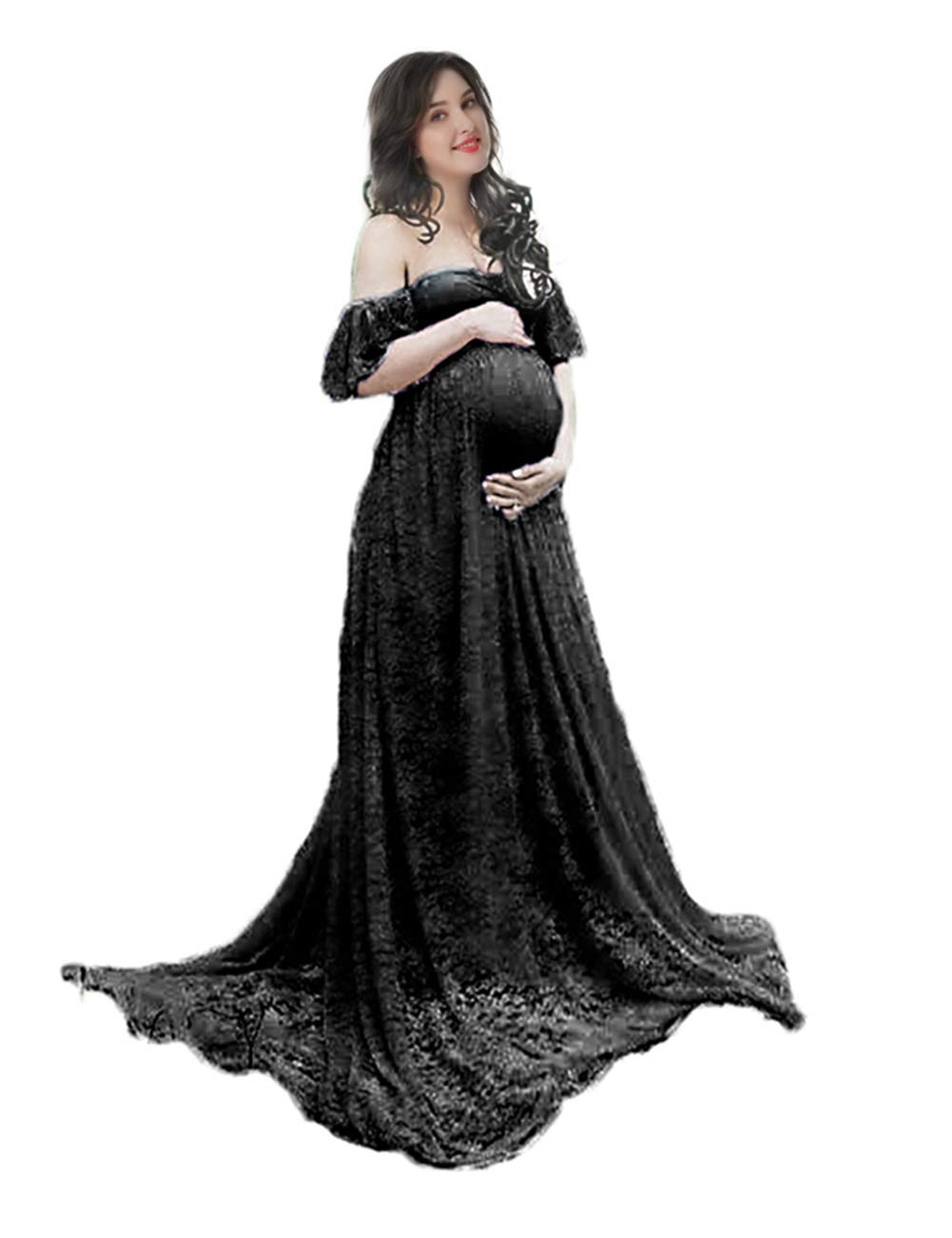 Women's Off Shoulder Ruffle Sleeve Lace Maternity Gown Plus Maxi Photography Dress