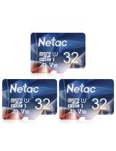Netac 32GB x 3 Micro SD Card, microSDHC UHS-I Memory Card - 90MB/s, 600X, U1, C10, Full HD Video V10, A1, FAT32, High Speed Flash TF Card P500 for Smartphone/Bluetooth Speaker/Tablet/PC/Camera/VR