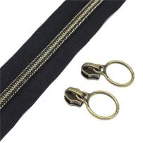 YaHoGa #5 Antique Brass Metallic Nylon Coil Zippers by The Yard Bulk Black Tape 10 Yards with 20pcs Sliders for DIY Sewing Tailor Craft Bag (Anti-Brass Black)