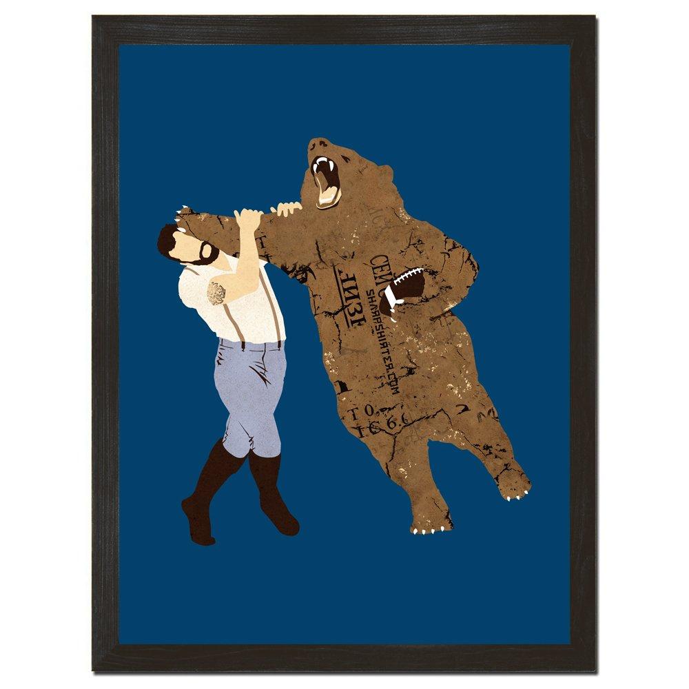 Sharp Shirter Bear Print Football Wall Art Cool Man Cave Poster Funny Home Decor Rustic Wall Hanging Sports Print 8x10