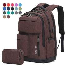 Travel Laptop Business Backpack Anti Theft College Computer Bagpack Keyhole zipper Design, Gifts for Men & Women Fits 15.6 Inch Notebook with USB Charging Port Bonus a Small pencil Case, Brown