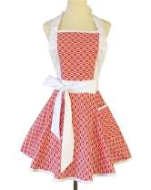 Lovely Red Cute Aprons for Women with Pockets Retro Wavy Stripe Kitchen Cooking Apron Dress Clothes Gift for Women Girls Housewarming