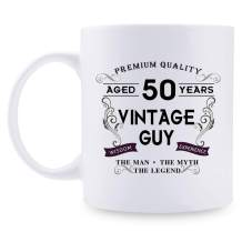 50th Birthday Gifts for Women Mugs- Aged 50 Years Vintage Guy Coffee Mug 1970 Birthday Decorations - 11 oz 50th bday Gifts for Mom, Her, Sister, Best Friends, Girlfriend, Wifey, Daughter, Female