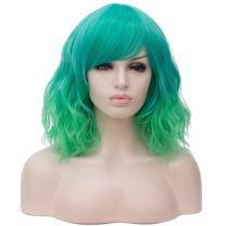 TopWigy Women Green Wig Heat Resistant Colored Carnival Party Masquerade Anime Cosplay Costume Wig
