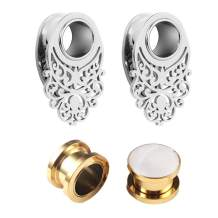 2 Pairs Pack LADEMAYH Ear Gauges Anti-allergenic Stainless Steel Hollow Carved Tunnels & Inlaid White Shellfish Ears Plugs Piercing Jewelry for Women Mens
