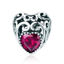 NINGAN Birthstone Openwork Heart Bead Charms 925 Sterling Silver Fits Pandora & European Charm Bracelets Necklaces
