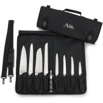 Chef Knife Bag (8+ Slots) is Padded and Holds 8 Knives PLUS Your Meat Cleaver, Knife Steel, 4 Utensils, and a Zipped Pouch for Tools! Durable Knife Carrier also Includes a Name Card Holder. (Bag Only)