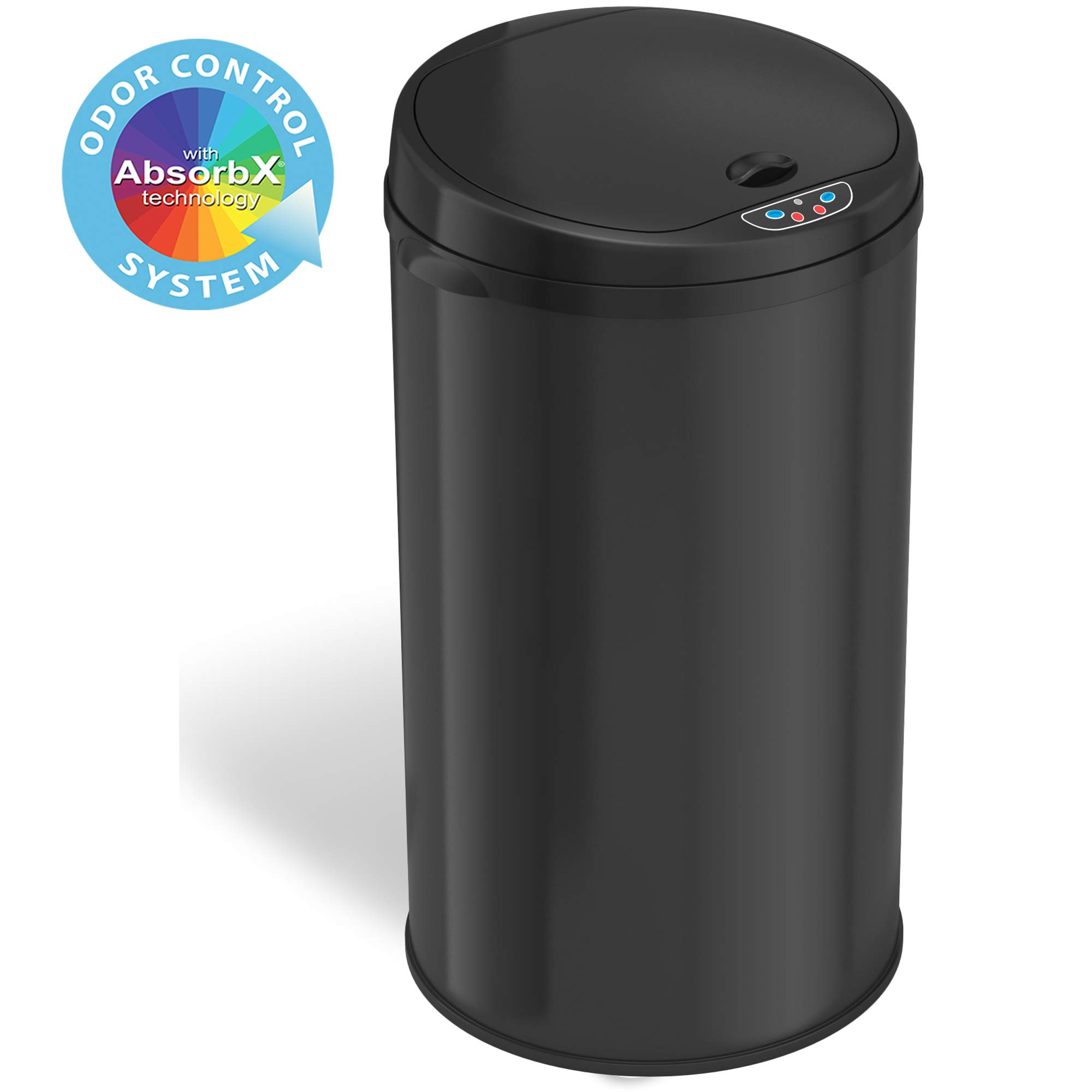 iTouchless 13 Gallon Touchless Sensor Trash Can with Odor Filter, Round Black Steel Garbage Bin, Perfect for Home, Kitchen, Office