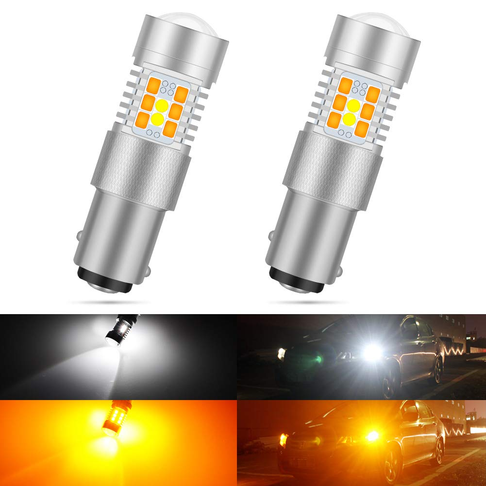 KATUR 7528 1157 BAY15D 1016 1034 Switchback LED Bulbs White/Yellow High Power Extremely Bright 3030 Chipsets with Projector for Turn Signal Lights and Daytime Running Lights/DRL (Pack of 2)