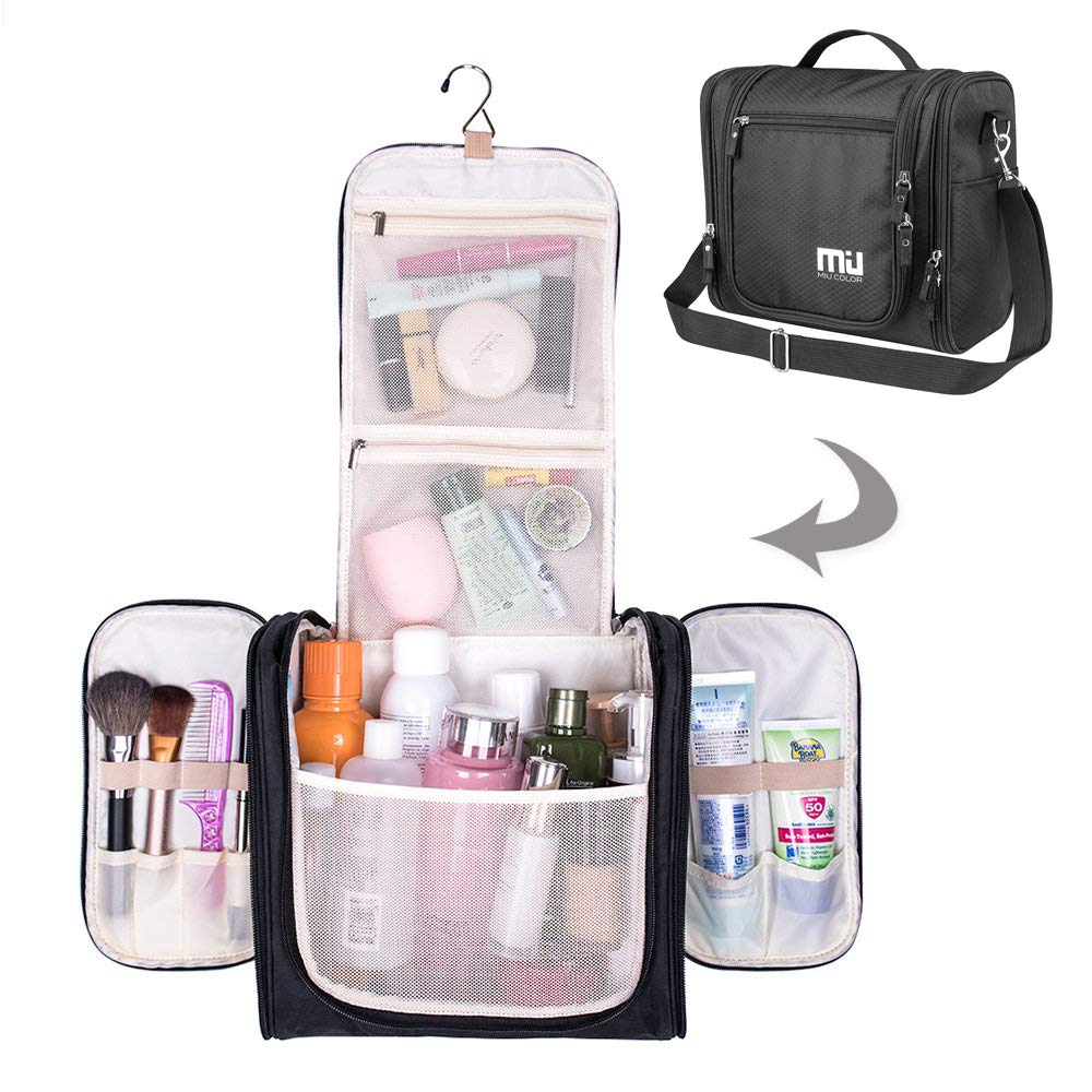 MIU COLOR Toiletry Bag Travel Bag with Hanging Hook, Portable Water-resistant Organizer Makeup Cosmetic Toiletry Kit for Bathroom Accessories and Personal Items for Women and Men (Black)