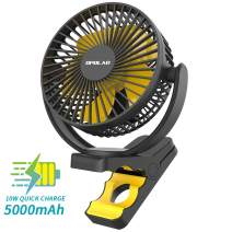 OPOLAR New 5000mAh Rechargeable Battery Operated Clip On Fan, Super Quiet & Strong Wind USB fan, Portable Strong Clamp Personal Fan for Golf Cart, Office Desk, Chair, Treadmill, Camping Tent