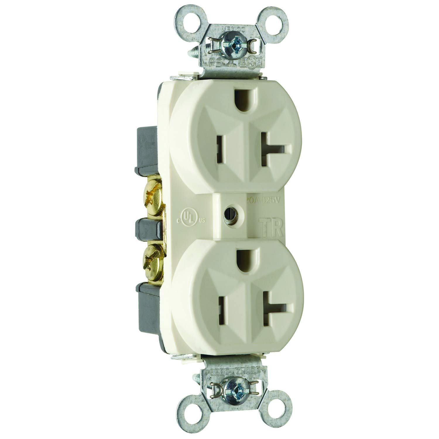 Legrand - Pass & Seymour TR5362LACC12 Receptacle Duplex Tamper Resistant Back and Side Wire 20-Amp/125-volt Light, Almond