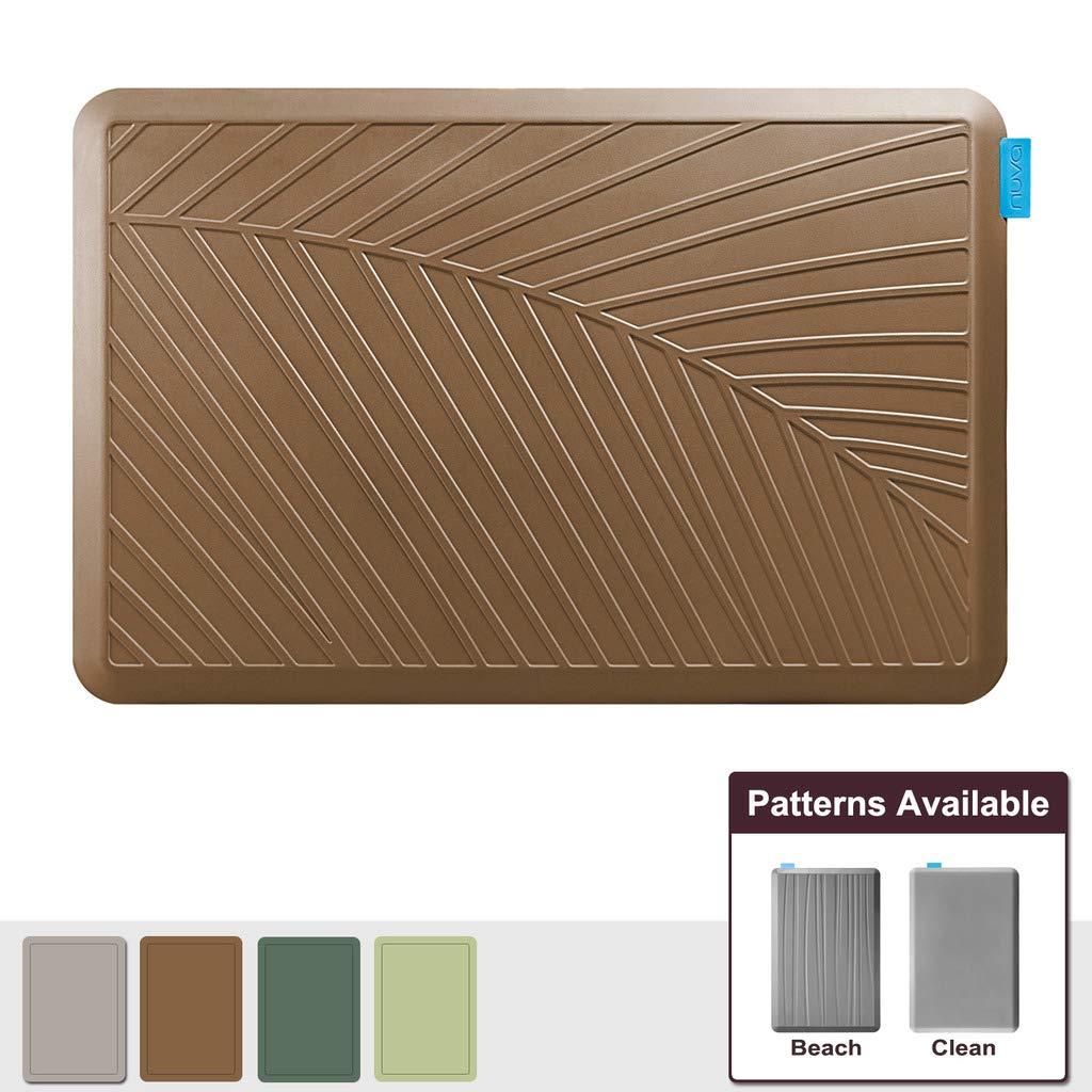 NUVA Premium Standing Floor Mat 36 x 24 in, NO PVC!!! 100% PU Comfort Ergonomic Material, 4 Non-slip PU Elastomer Strips on Bottom (Light Brown, Palm Pattern)