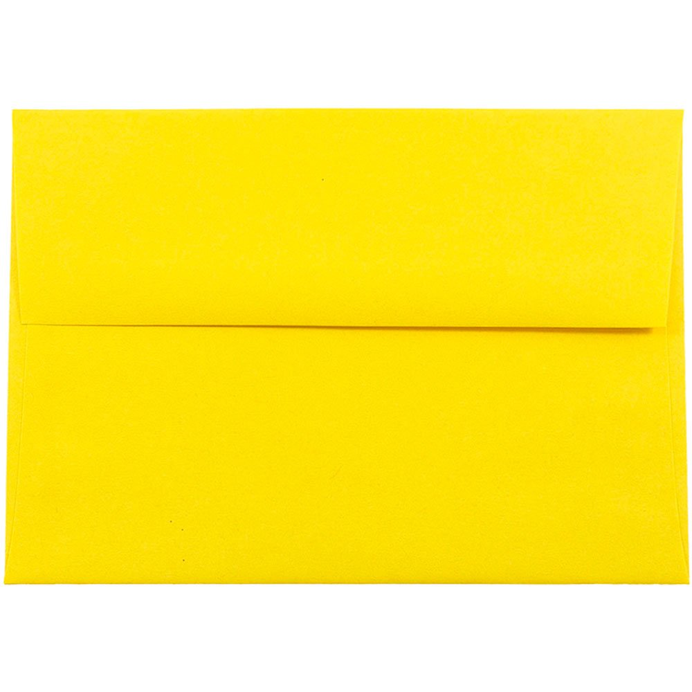 JAM PAPER A7 Colored Invitation Envelopes - 5 1/4 x 7 1/4 - Yellow Recycled - 50/Pack