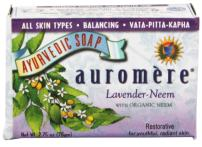 Ayurvedic Bar Soap Lavender-Neem by Auromere - All Natural Handmade and Eco-friendly Bar Soap for Sensitive Skin - 2.75 oz (6 Pack)