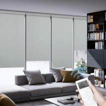 Graywind Motorized Roller Shades 100% Blackout Window Blinds Remote Voice Control Thermal Insulated Triple Weaved Fabric with Valance for Smart Home Office, Customized Size, Gray