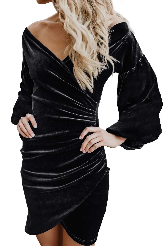 Happy Sailed Womens V Neck Velvet Club Wrap Sheath Cocktail Party Pencil Dress Medium Black