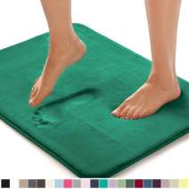Gorilla Grip Original Thick Memory Foam Bath Rug, 42x24, Cushioned, Soft Floor Mats, Absorbent Premium Bathroom Mat Rugs, Machine Washable, Luxury Plush Comfortable Carpet for Bath Room, Emerald