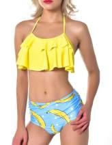 Buauty Women Flounce Two Piece Bikini Set High Waisted Swimsuits Bottom Floral Swimwear Bathing Suit