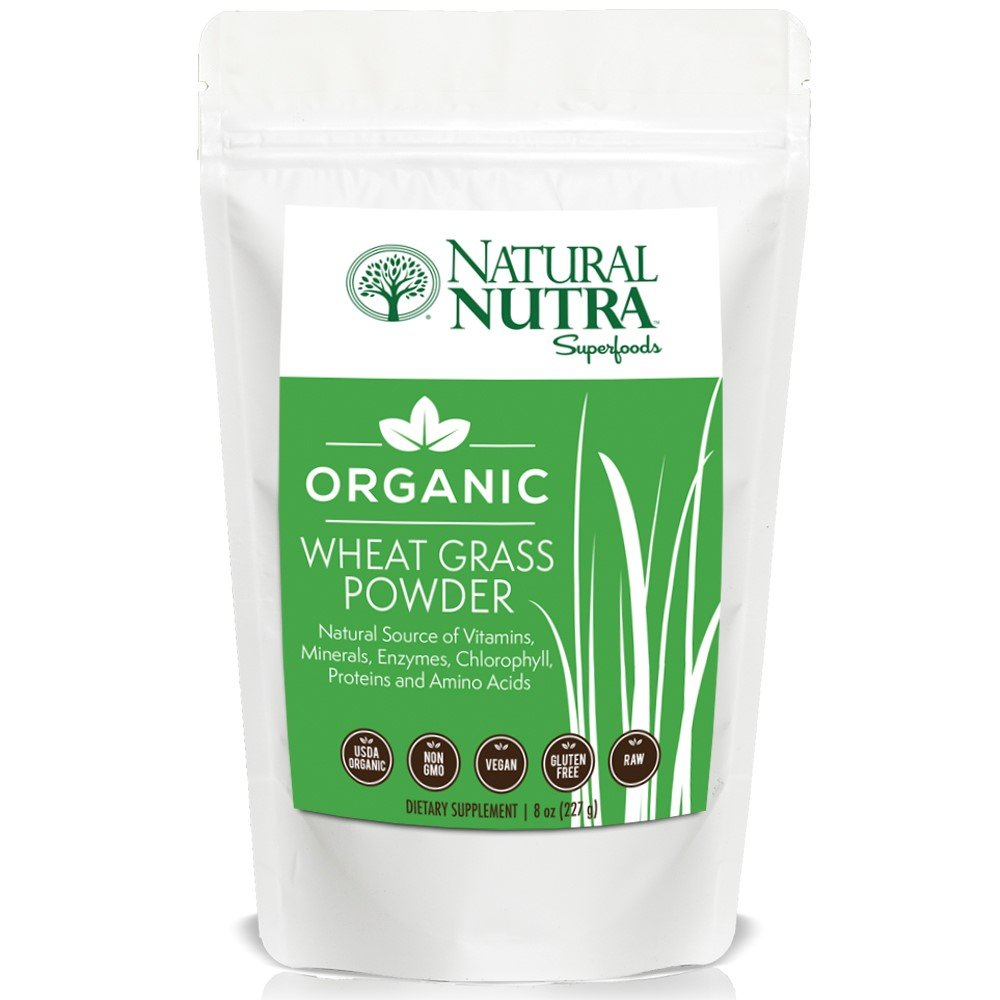 Organic Wheat Grass Powder by Natural Nutra – 8oz, 75 Servings – Superfood Dietary Supplement: Chlorophyll, Antioxidants, Vitamins A & B, Amino Acids – USDA Organic, Non GMO, Vegan, Gluten Free, Raw