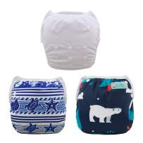 ALVABABY Swim Diapers 3pcs One Size Reuseable Washable Adjustable for Swimming Lesson Baby Shower Gifts 3SW22