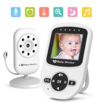 Video Baby Monitor with Digital Camera, Auto Infrared Night Vision, Temperature Monitoring, ECO Power-Saving Mode, Two-Way Talk Function, 2.4-inch high Definition LCD Display