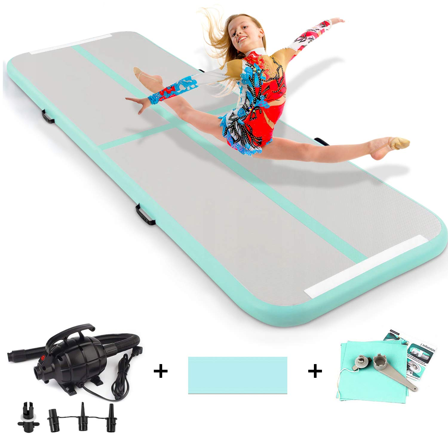 Gymnastic Mat Inflatable Air Track Tumbling Mat with Pump for Gym Home Use/Training/Cheerleading/Beach