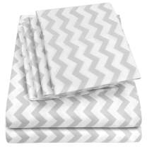 Sweet Home Collection Full Size Bed Sheets-6 Piece 1500 Thread Count Fine Brushed Microfiber Deep Pocket Set-2 EXTRA PILLOW CASES, VALUE, Chevron Gray