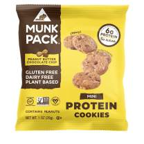 Munk Pack Peanut Butter Chocolate Chip Mini Protein Cookies with 6 Grams of Protein | Cookie Snack Pack | Vegan | Gluten, Dairy and Soy Free | Chewy | 8 Pack