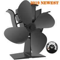 KINDEN Heat Powered Stove Fan 4-Blade for Wood Log Burner Increases 80% More Warm Air Than 2 Blade Eco-Friendly with Stove Thermometer (Aluminium Black,Large Size)