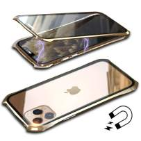 Anyos Compatible iPhone 11 Case, Ultra-Thin Magnetic Adsorption Metal Frame Clear Tempered Glass Flip Cover Built-in Screen Protector, (Gold)
