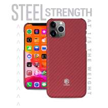 Evutec Karbon Value Compatible with iPhone 11 Pro Max 6.5 inch Thin 0.7mm Slim Light Smooth Real Aramid Fiber Protective Phone Case Scratch Resistant Durable Cover - Red
