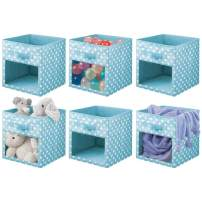 mDesign Soft Fabric Closet Storage Organizer Cube Bin Box, Clear Window and Handle - for Child/Kids Room, Nursery, Playroom, Furniture Units, Shelf - 6 Pack - Turquoise/White