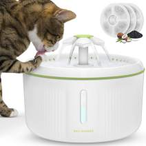 SHU UFANRO Pet Fountain Automatic Cat Water Fountain Dog Water Dispenser with 3 Replacement Filters, 70oz/2L Drinking Fountains Bowl with LED Light for Cat and Small Dogs, Multiple Pets