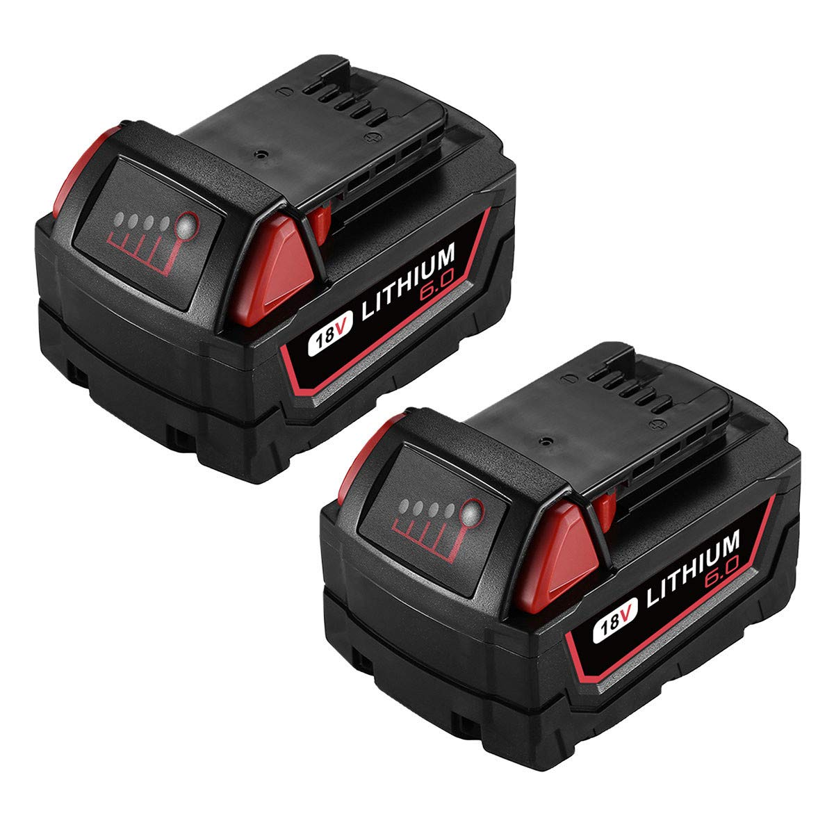 Powerextra 18V 6.0AH Replacement Battery Compatible with Milwaukee 48-11-1852 M18 Lithium XC 6.0 Ah M18B 48-11-1850 48-11-1852 48-11-1820 M18 Battery 2Pack