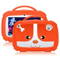 QIMAOO Kids Tablet 7 inch,GMS-Certified Android 9.0 and Kids-Mode Dual System,Quad Core,1GB RAM,16GB ROM,Dual Camera,Full HD Screen,Google Play and Learning App for Children Orange
