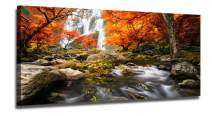 """Ardemy Canvas Wall Art Prints Landscape Waterfall Nature Scenery Painting Modern Artwork Large Size Mountain Picture Framed Ready to Hang for Living Room Bedroom Home Office Decor 48""""x24"""", One Piece"""