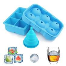 Ice Cube Trays, YECO Ice Ball Maker Tray - 100% Safe Food Grade Silicone Sphere Round Ice Ball Molds- - Flexible & Reusable - keep Whiskey, Drinks, Liquids cool, Foldable Funnel for Liquid Transfer