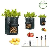 Potato-Grow-Bags,Garden Vegetable Planter with Handles&Access Flap for Vegetables,Tomato,Carrot, Onion,Fruits,Potatoes-Growing-Containers,Ventilated Plants Planting Bag(3 Pack) (7 gallons + 7 Tools)