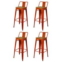 GIA 30-Inch Low-Back Bar Height Stool, 4-Pack, Orange/Light Wood Seat