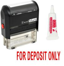 ExcelMark for Deposit ONLY Self Inking Rubber Stamp - Red Ink with 5cc Refill Ink